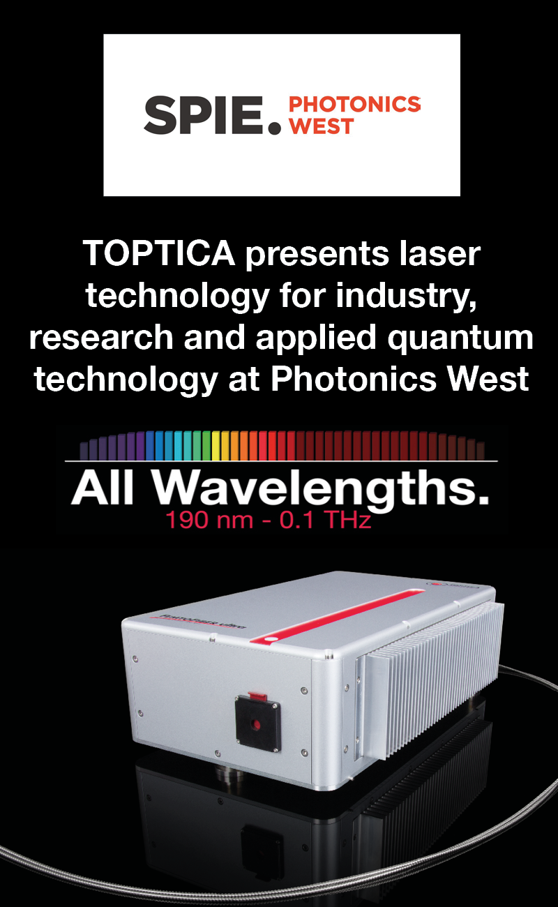 TOPTICA presents laser technology for industry, research and applied quantum technology at Photonics West
